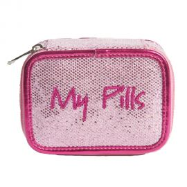 Pink square zippered case that reads My Pills.