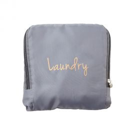 Grey Laundry Bag with gold font text that reads Laundry. Bag appears folded into a square.