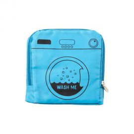 Blue laundry bag with text that reads: Wash Me. Bag appears folded into a square