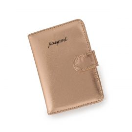 """Image shows rosegold passport case with snap closure and black font that reads """"passport."""""""