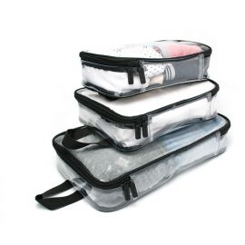 Image shows three full packing cubes, stacked on top one one another, by size.