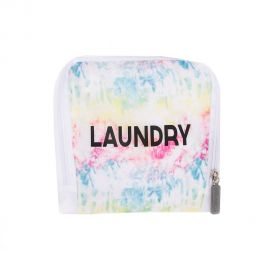 White laundry bag with multi-colored tie dye design and black font that reads laundry. Bag appears folded into a square.