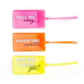 3PC NEON LUGGAGE TAGS