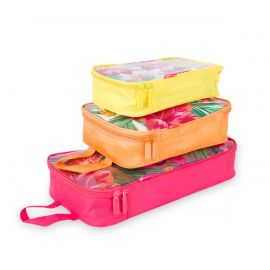 Image shows three packing cubes stacked atop one another. Bottom is pink, middle is orange, top is yellow. All have clear pvc, zippered covers with pink and green hibiscus floral pattern.