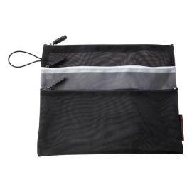 3-Zip Black Mesh Pouch