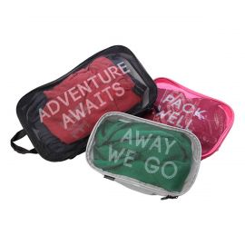 """Image shows three packing full packing cubes. The largest is black with white font that reads """"adventure awaits."""" The medium sized one is pink with white font that reads """"pack well."""" The smallest one is grey with white font that reads """"away we go."""""""