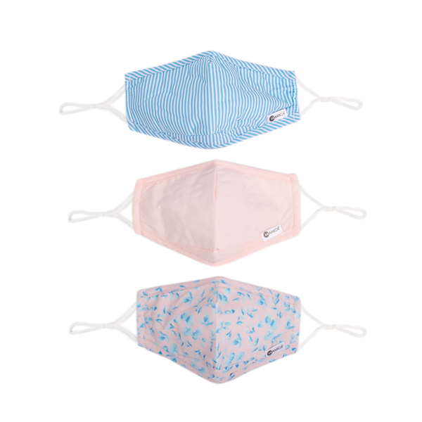 3PC FACE MASK: PINK AND BLUE FLORAL